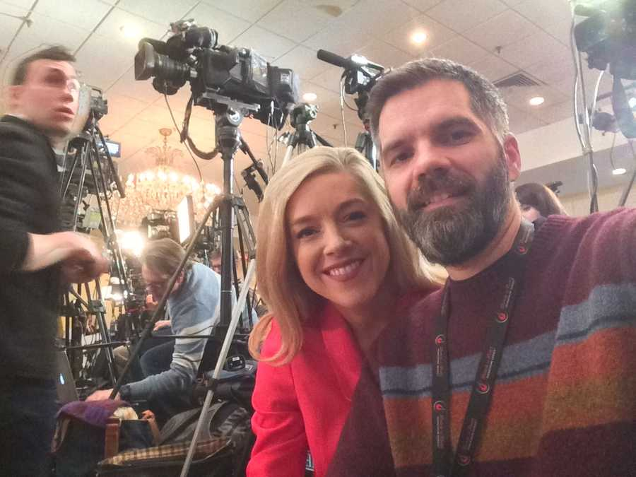 Reporter Kristen Carosa and photographer Joel Wade from the Governor Chris Christie primary headquarters.