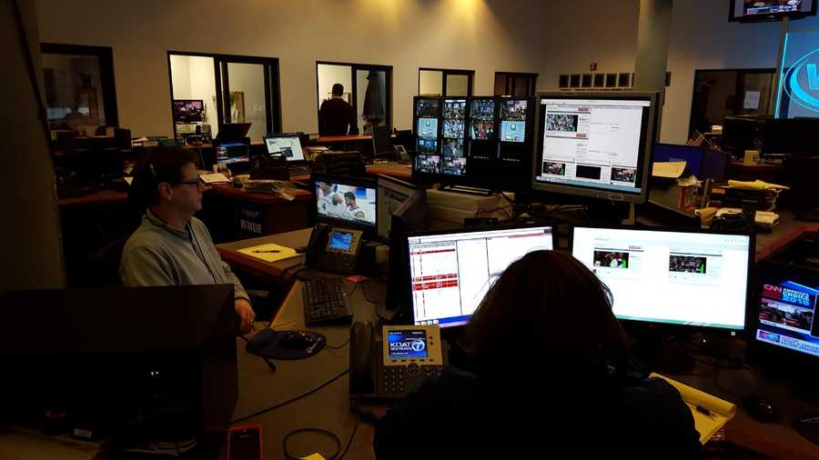 Here's a look in our newsroom. It has been a very busy night!