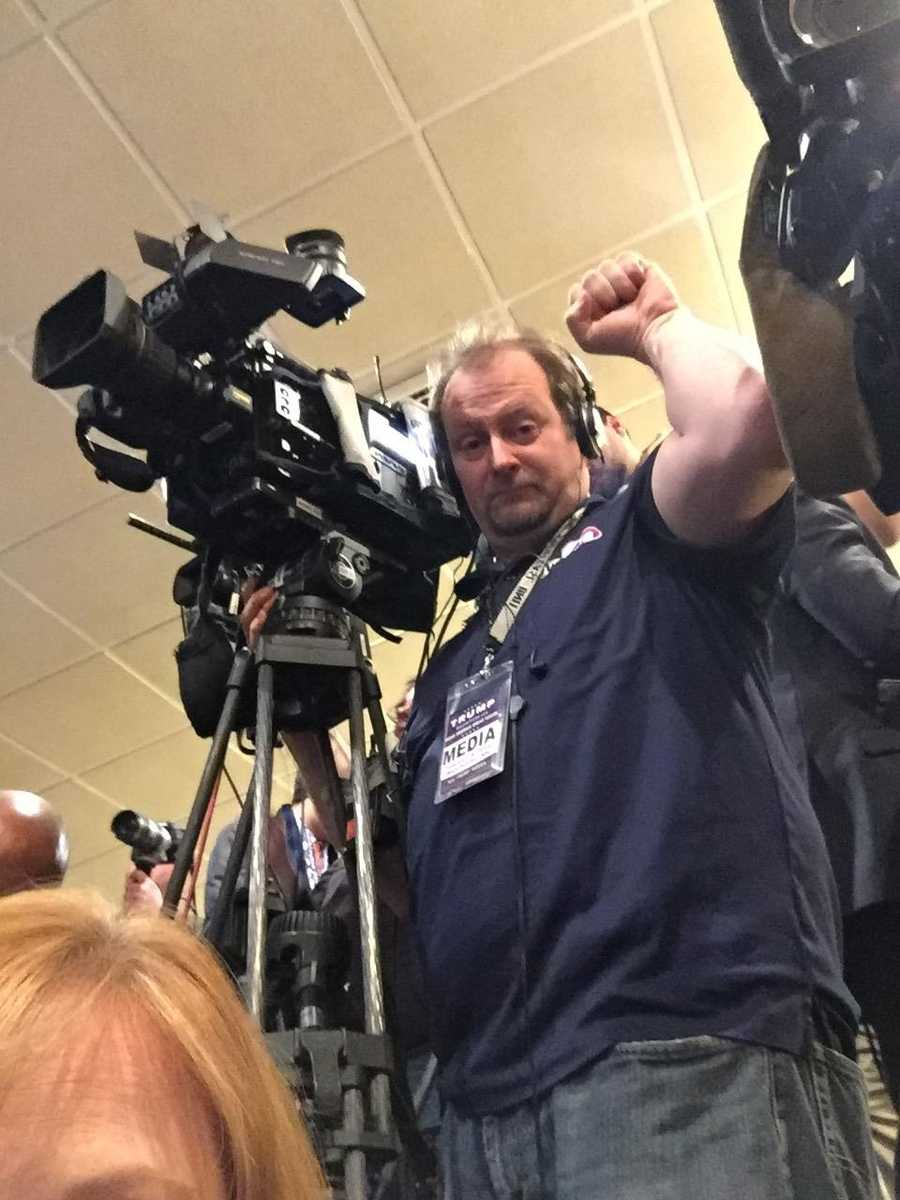Photographer Chris Shepherd shoots on location at the Trump campaign location in Manchester, NH.