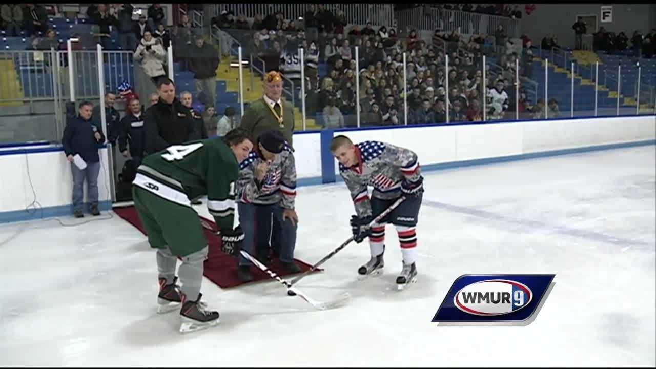 A Salem hockey team honors a decorated war veteran.