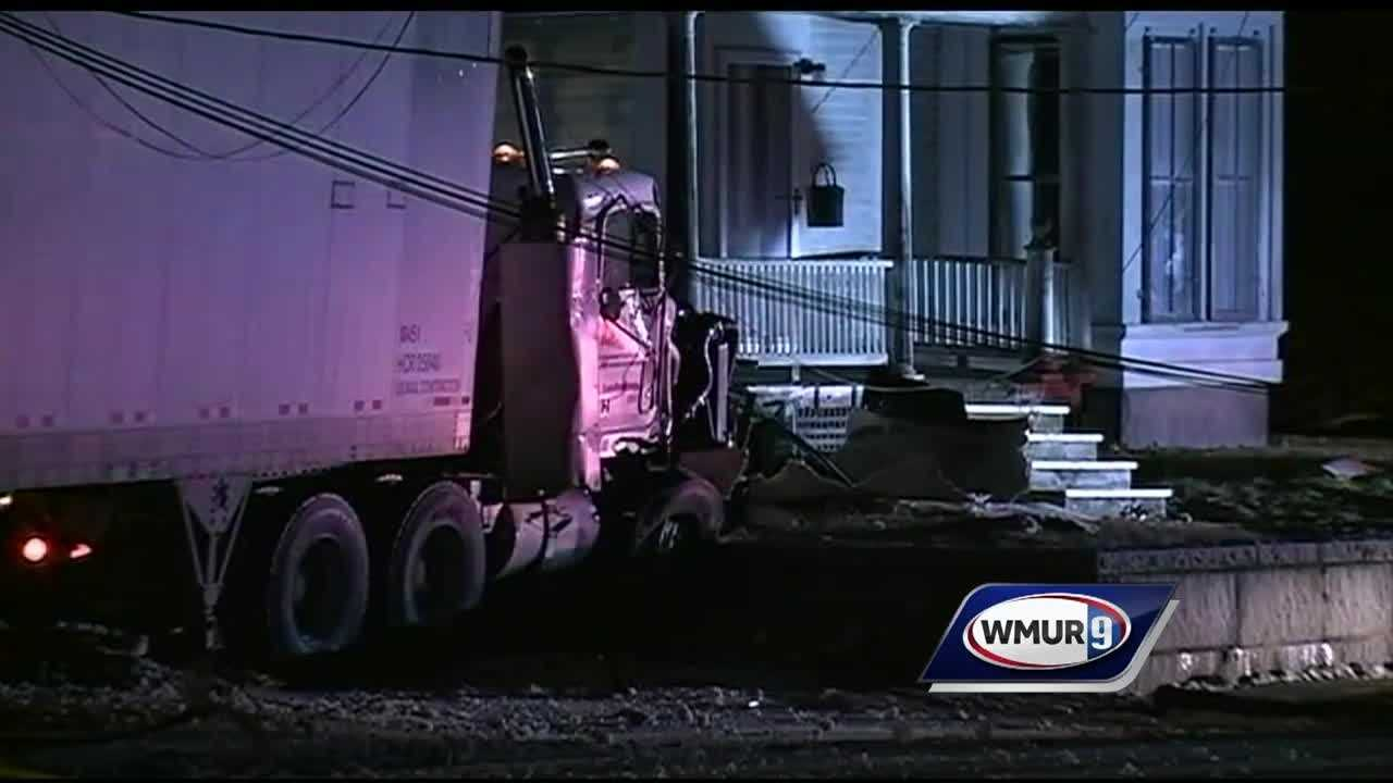 A section of Route 101 in Marlborough was shut down Thursday morning after a tractor-trailer truck crashed, snapping utility poles and taking down power lines.