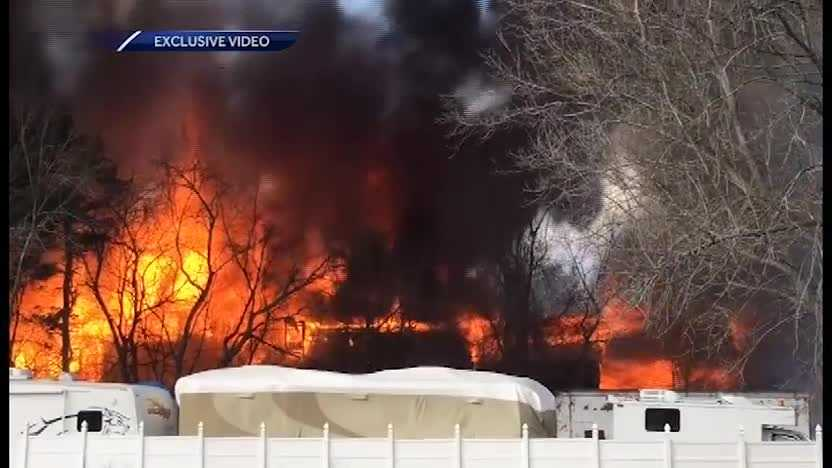 Crews battle Goffstown fire
