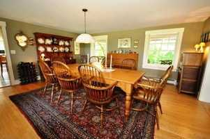 The large dining area is perfect for hosting large gatherings where your guests will have plenty of space to move around.