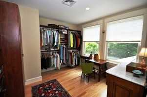 The master walk-in closet also features views of the surrounding mountains.