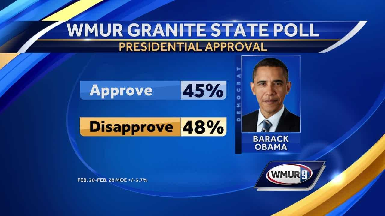 Granite Staters' views on how President Barack Obama is handling his job remain split along party lines, with the numbers of those on each side of the question essentially unchanged since last summer, a new poll has found.