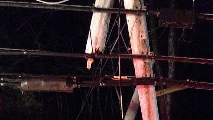 An accident in Plaistow badly damaged several telephone poles on Friday night.