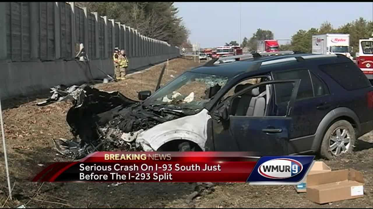 State police and Manchester fire crews responded Tuesday to a serious crash on the southbound side of I-93 in Manchester.
