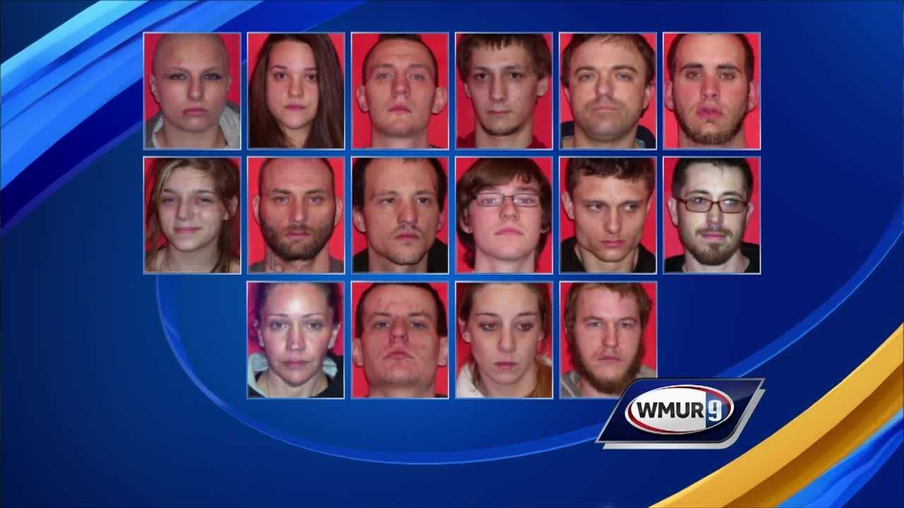 Police in Laconia on Wednesday arrested 16 people who were wanted on warrants related to selling or conspiracy to sell drugs.