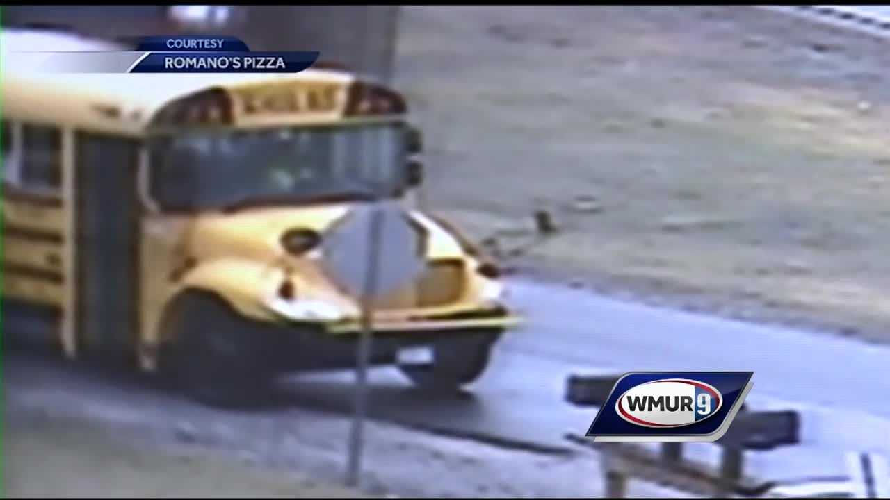 An object crashed through a side window of a school bus Tuesday in Litchfield, and a middle school student is recovering from a minor injury.