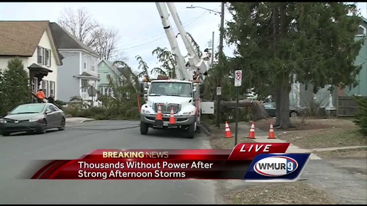 Strong winds Thursday led to power outages in several communities.
