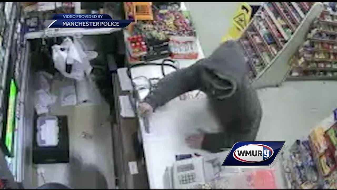 Police in Manchester are searching for a man who robbed a store at knifepoint.