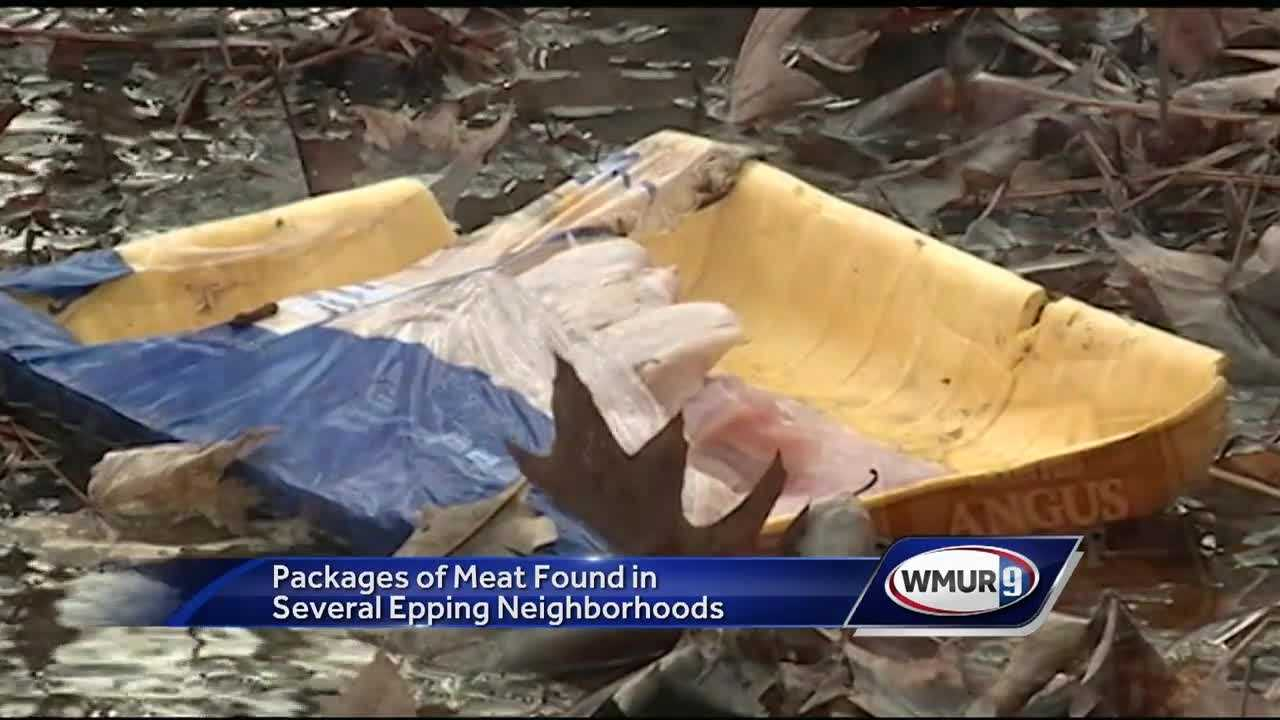 Packages of frozen meat have been found on the side of roads in Epping, and police are trying to figure out how they got there.