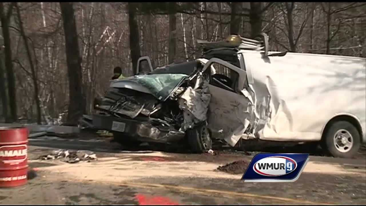 Three people were taken to hospitals after a pickup truck and a van collided head-on Wednesday morning on Route 101 in Temple.