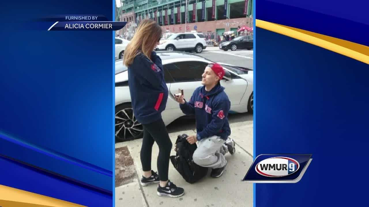 A Raymond man popped the question on Opening Day at Fenway Park Monday afternoon.