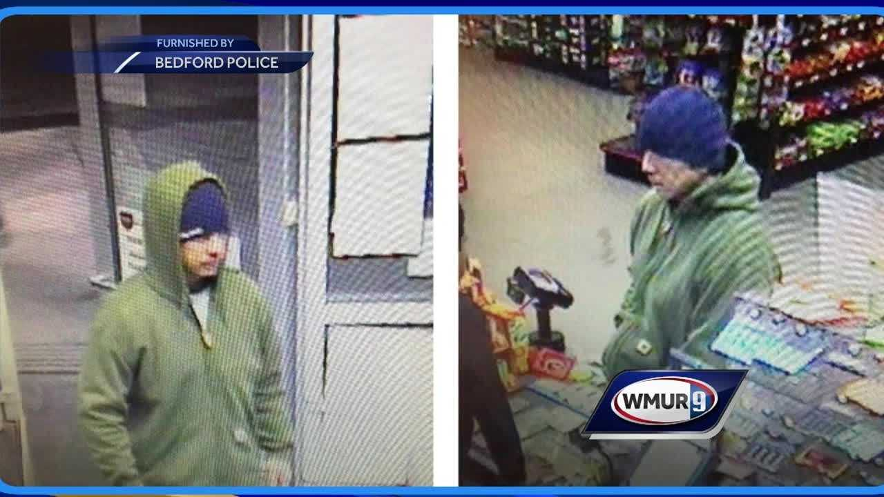 A Manchester man wanted for robbing a Bedford convenience store turned himself in to police.