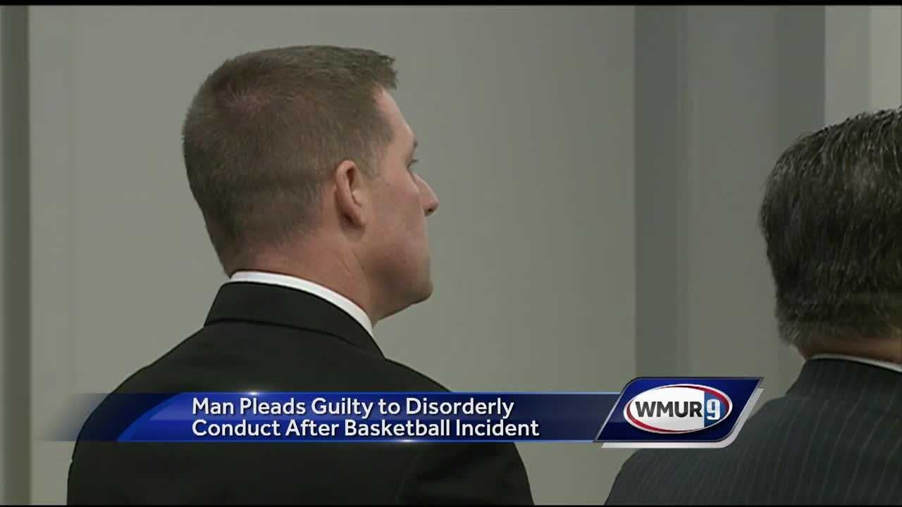 A Manchester firefighter accused of physically assaulting a student at a basketball game in Wolfeboro pleaded guilty Wednesday to a lesser charge.