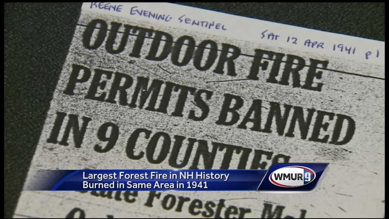The largest forest fire in New Hampshire history burned in the same area as Thursday's massive fire in Stoddard, nearly 75 years ago.