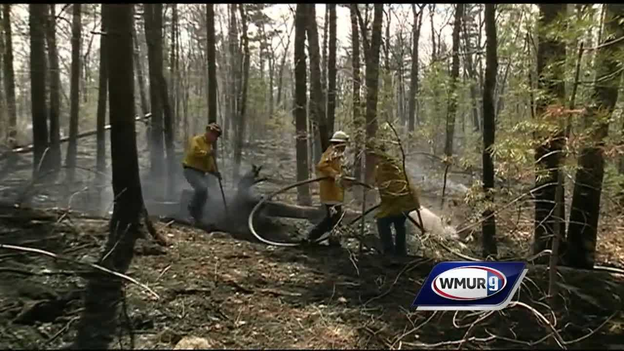 Hooksett crews had a tough time battling a 6-alarm brush fire today due to the dry, windy conditions and thick vegetation limiting access.