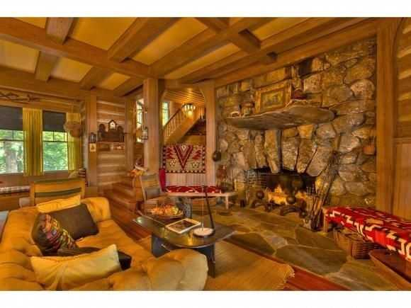 The great room has a massive wood burning fireplace.
