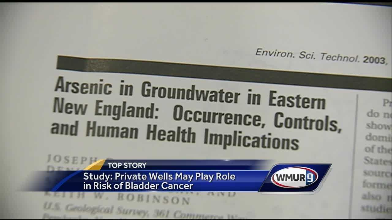 A study has found that drinking water from private wells in New Hampshire might have contributed to an elevated risk of bladder cancer in the state.