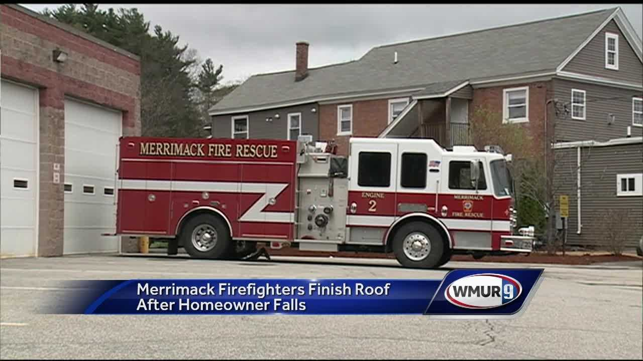 After a Merrimack homeowner who fell off the roof of his home died at a hospital Wednesday, the rescue team that was called to his home felt that their job wasn't done.