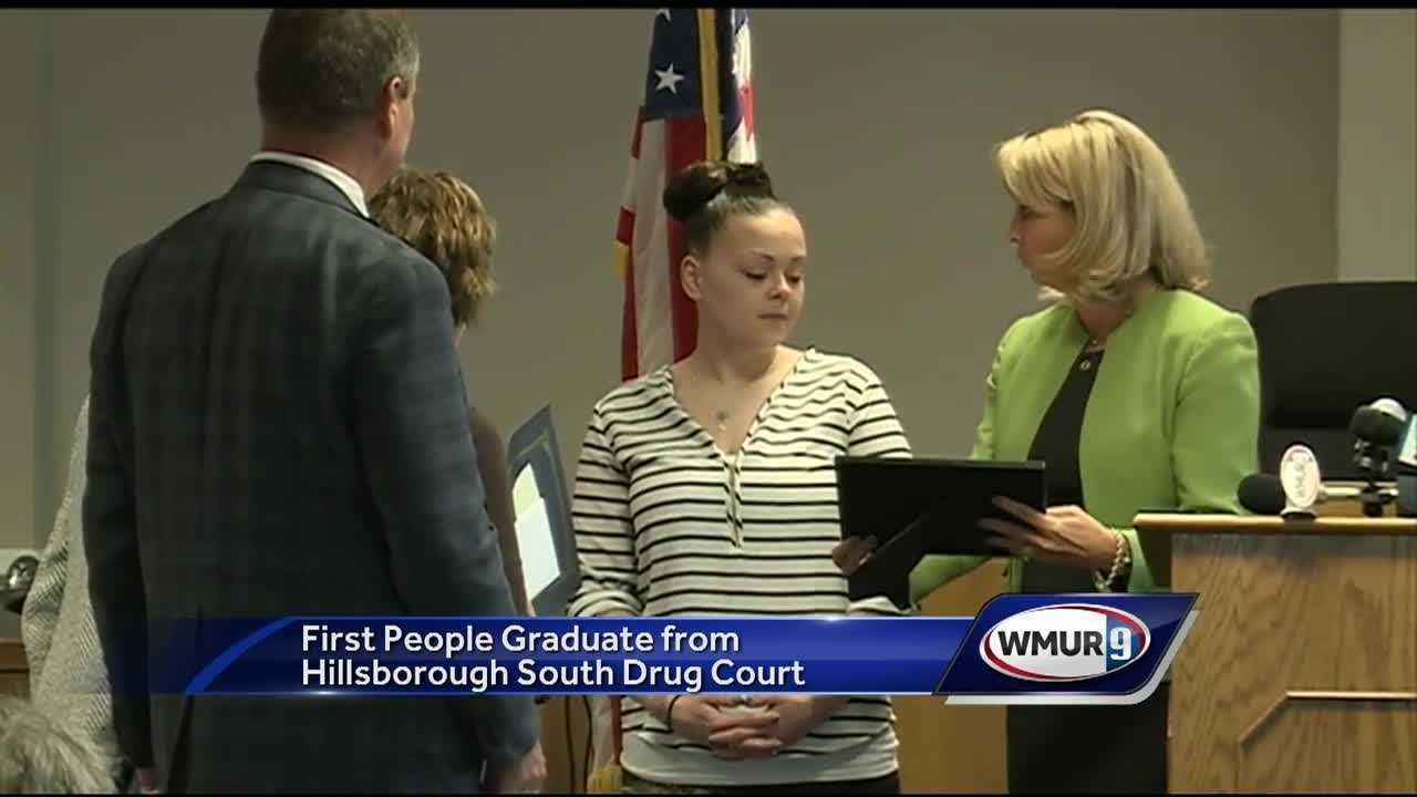 Three people became the first to graduate from Hillsborough County's new drug court Friday.