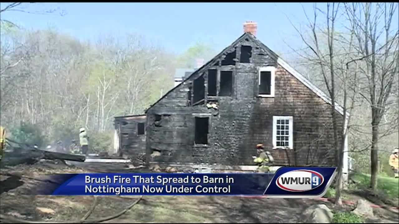 A four-alarm fire in Nottingham leveled a barn and burned more than half of a house off Lucas Pond Road Wednesday afternoon.