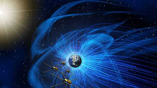 Artist concept of the MMS satellites that provided the first view of magnetic reconnection.