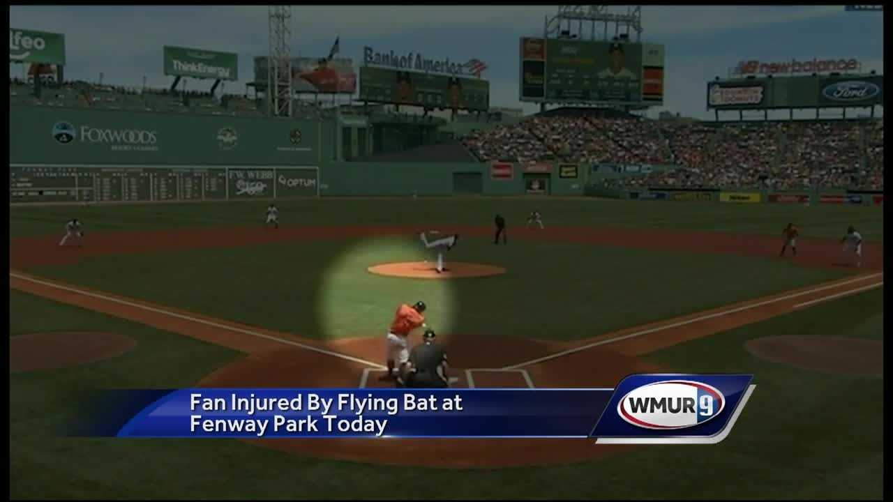 A fan was injured by a bat that flew into the stands at Fenway Park.