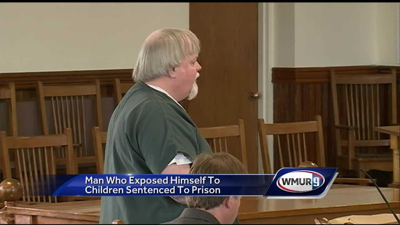 A registered sex offender convicted of exposing himself to children at a park was sentenced to prison Tuesday.