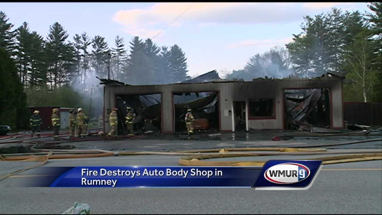 An auto body shop in Rumney was burned to the ground after a large blaze broke out Wednesday.