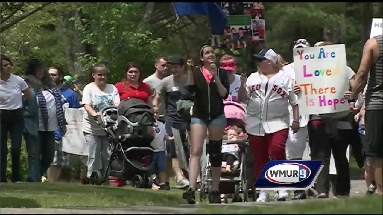 Hundreds of people gathered for a walk in Concord on Saturday to discourage heroin use in their community.