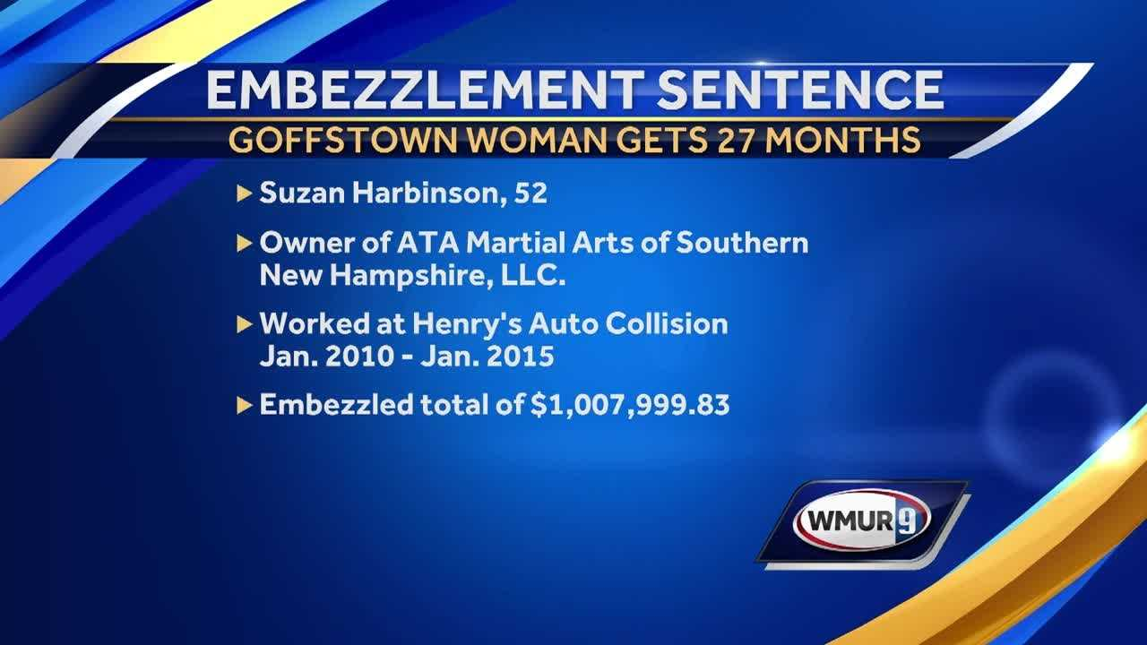 A Goffstown woman has been sentenced to over two years behind for embezzling over $1 million.