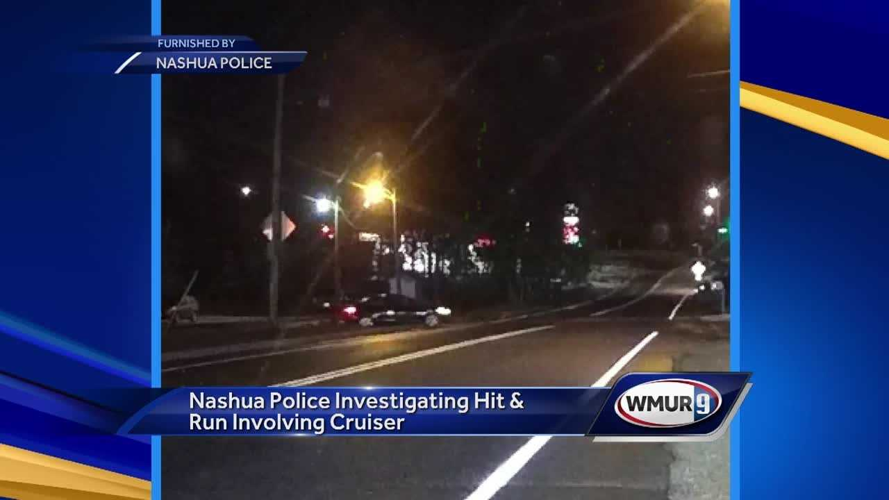 Nashua police are looking for a car that hit a police cruiser last week.