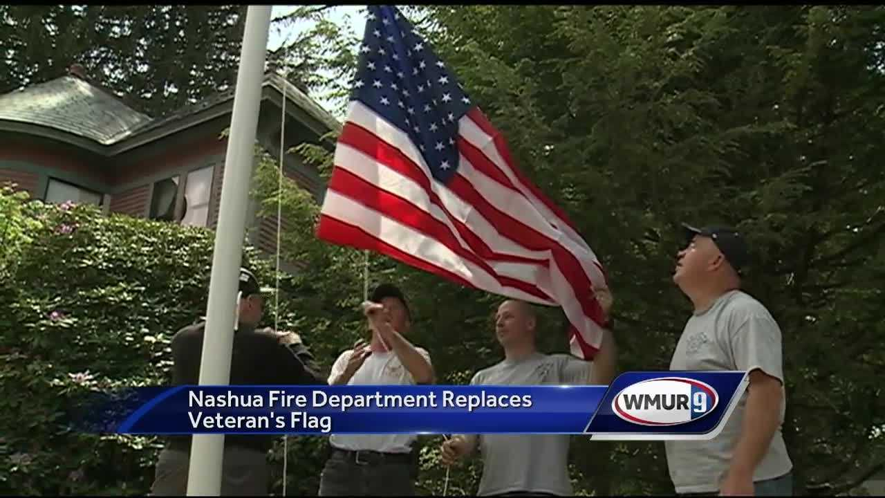 An American flag is flying once again in the yard of a 91-year-old World War II veteran in Nashua.