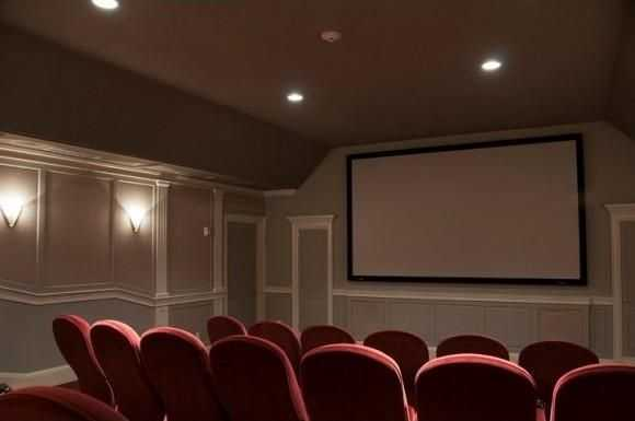 A look inside the home's private movie theater.
