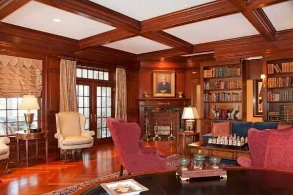 A look at the home's spacious library.