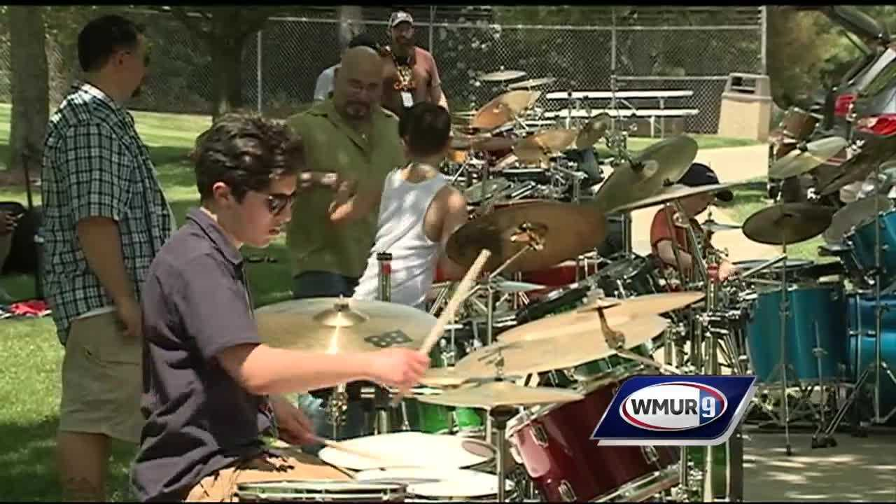 32 Drummers took part in one big drum solo at the Anheuser-Busch brewery in Merrimack.