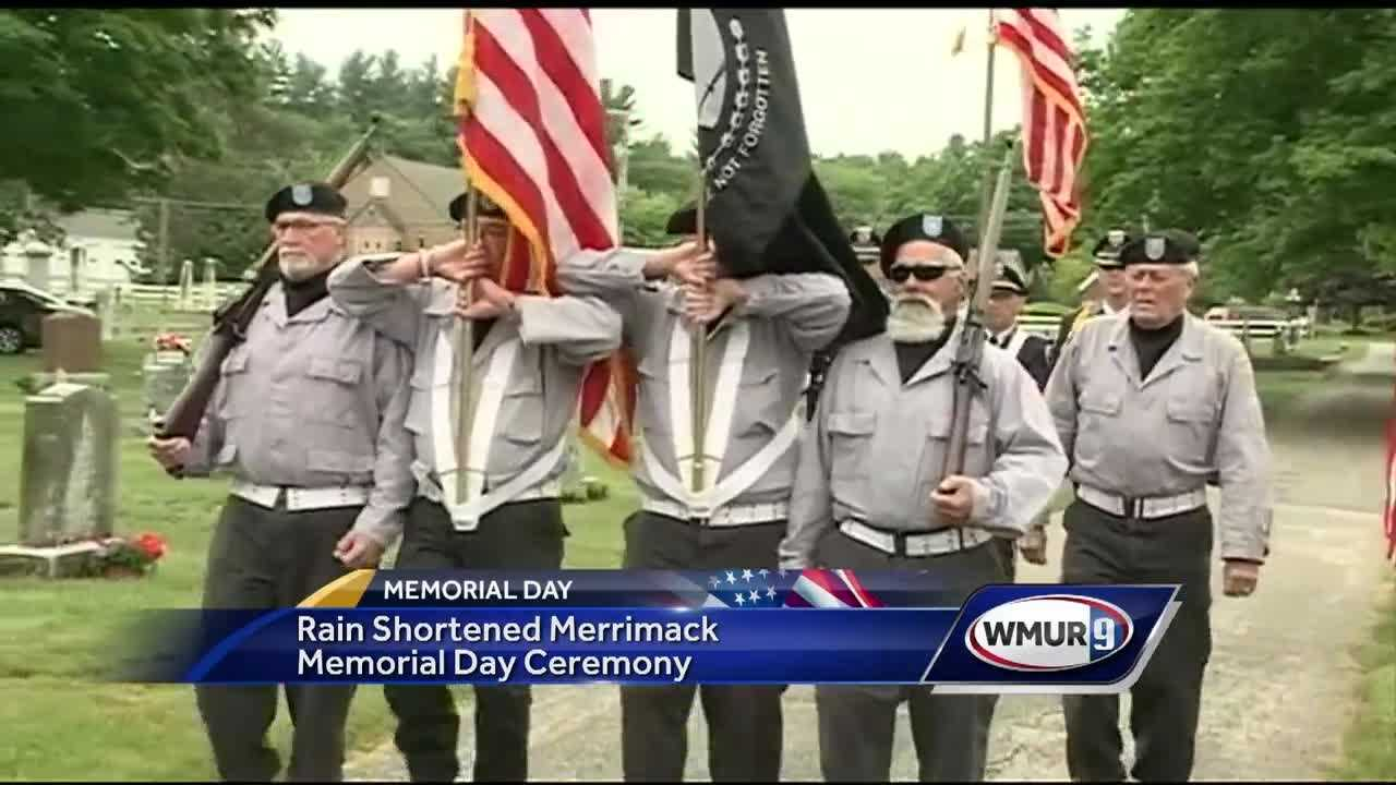 Rain made for a shortened ceremony in Merrimack on Memorial Day, but veterans and many others still gathered in a local cemetery to pay their respects to those who gave so much.
