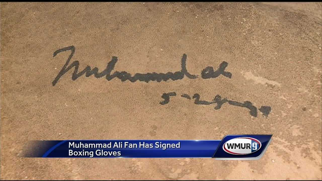 A man from Sunapee collected newspaper clippings of Muhammad Ali and got the boxer to sign his grandfather's boxing gloves in 1994.