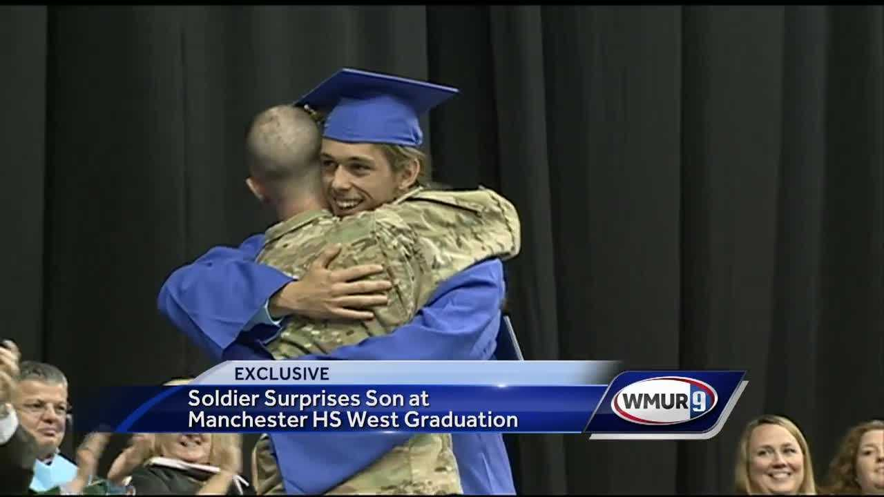 A soldier came home from the Middle East to surprise his son at the Manchester West High School graduation ceremony.