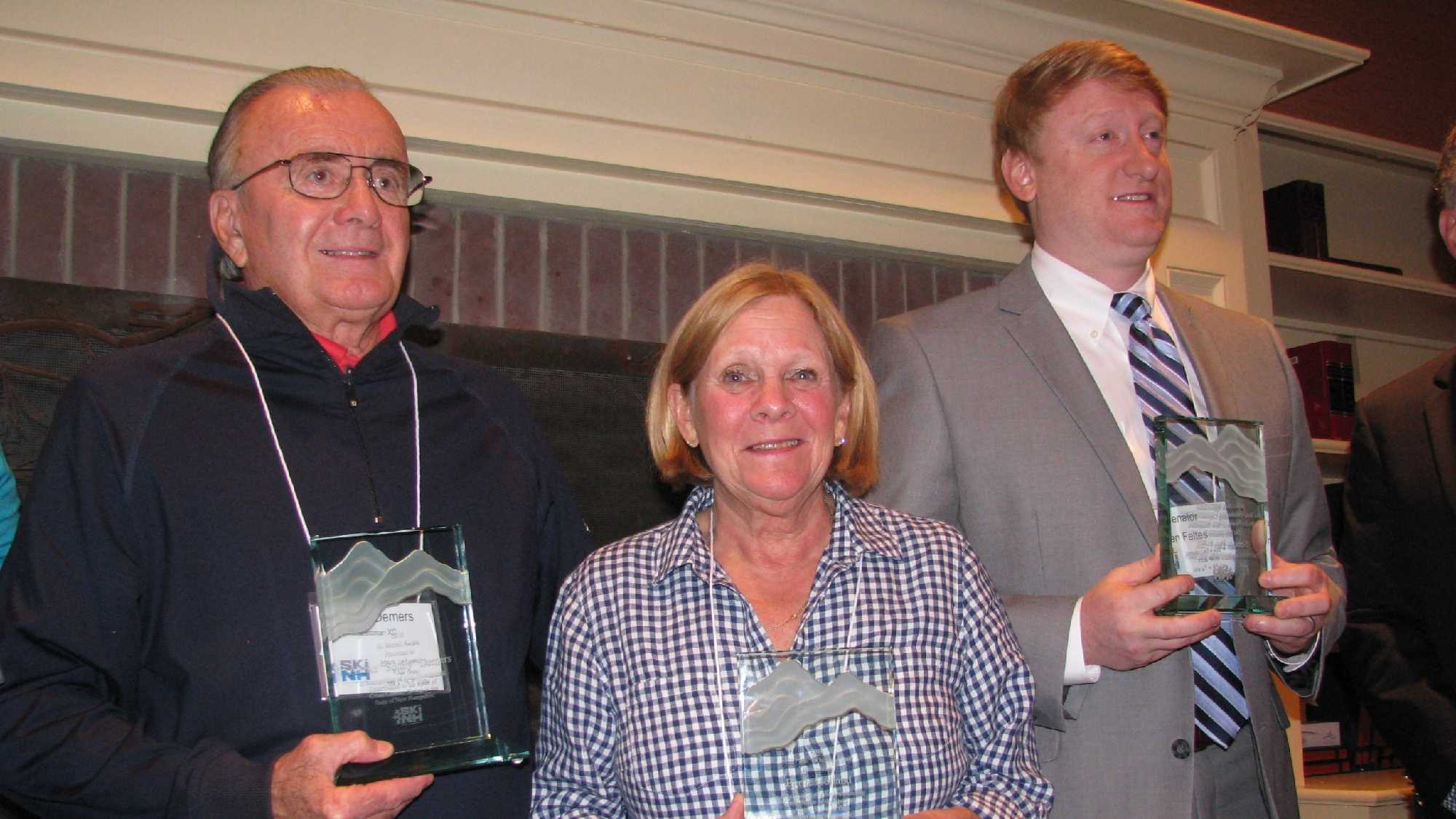 Bertie Holland, Sonny Demers and State Rep. Dan Feltes received awards from Ski NH this week.