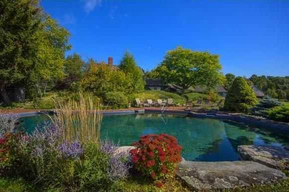An inviting pool is beautifully landscaped.