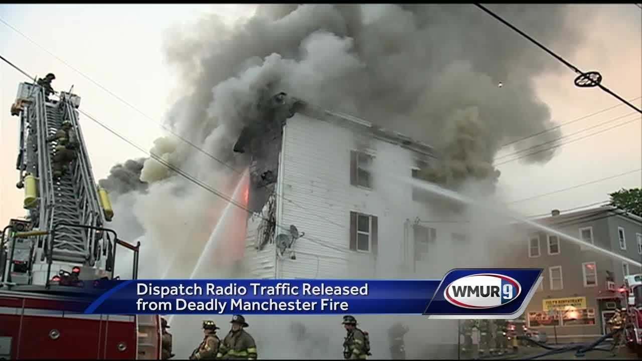 Firefighter radio transmissions from a Manchester fire that killed a family of four show the efforts emergency workers made to rescue the victims.