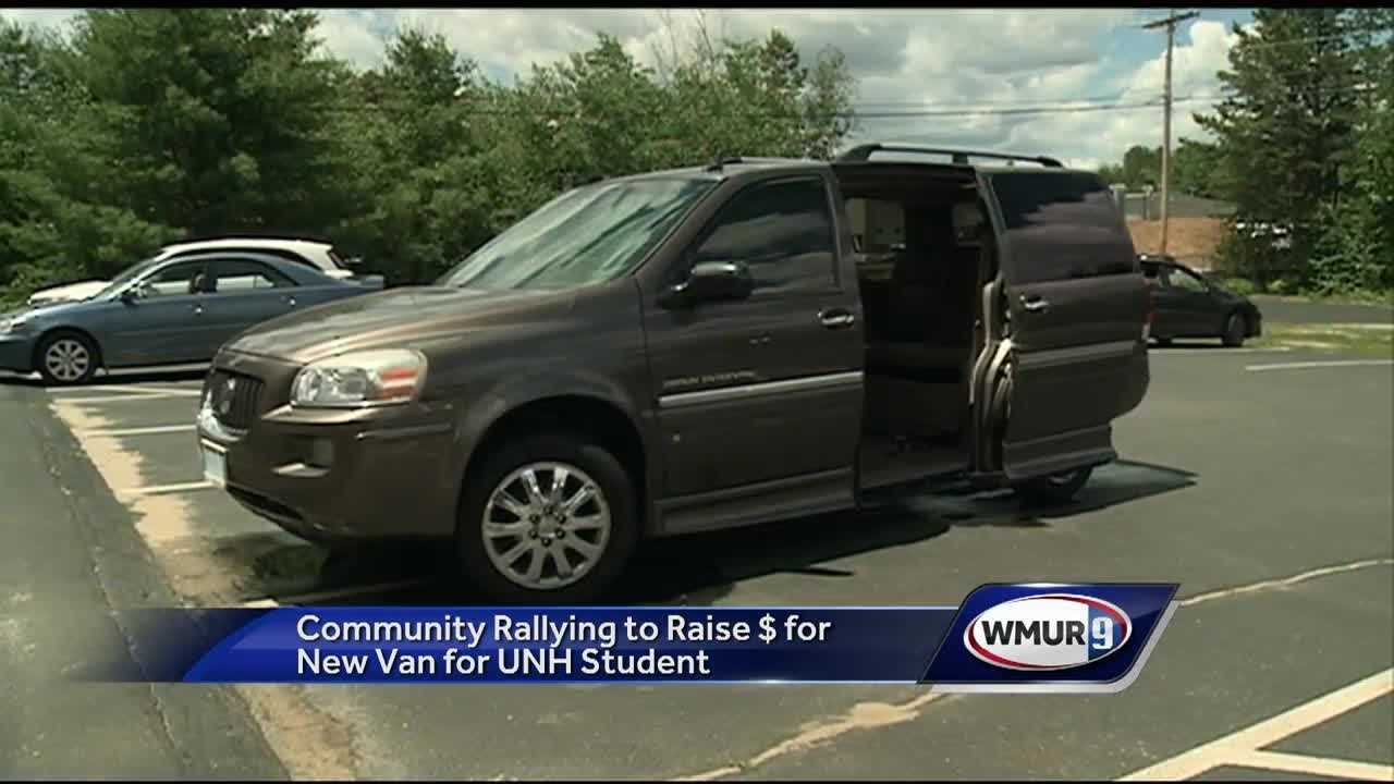 A University of New Hampshire student who was paralyzed six years ago is in need of a new van, and the community is rallying to help.