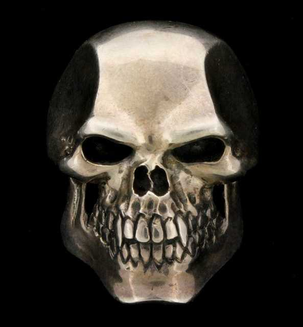 "A sterling silver ""Psycho killer skull"" ring"