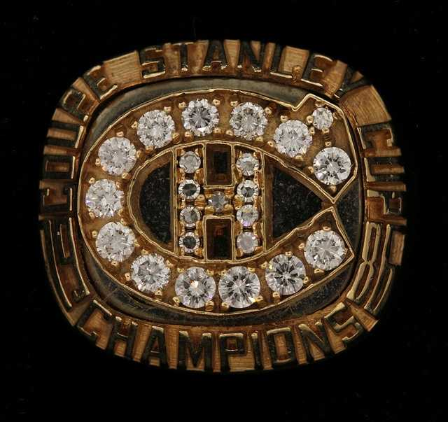 A replica 1986 Montreal Canadiens Stanley Cup championship ring.