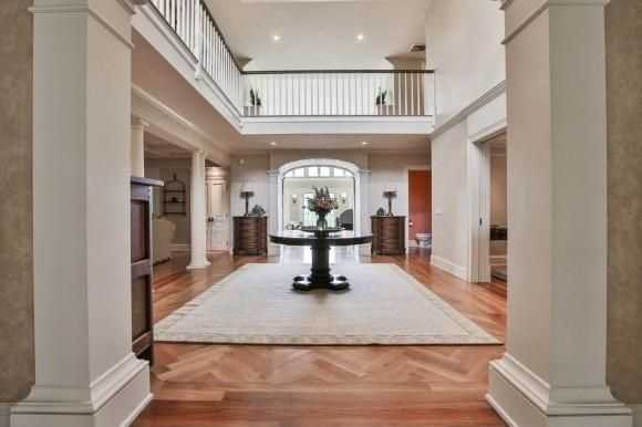 The home has high cathedral ceilings.