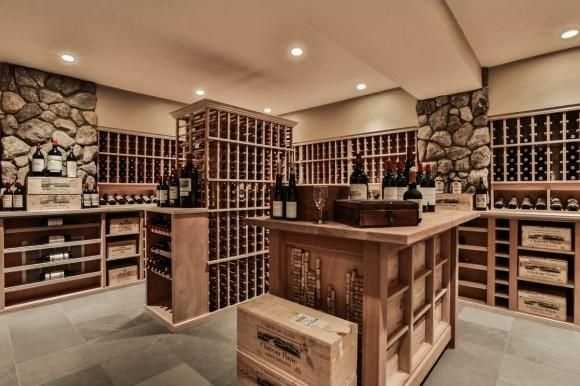 A view inside the wine cellar.
