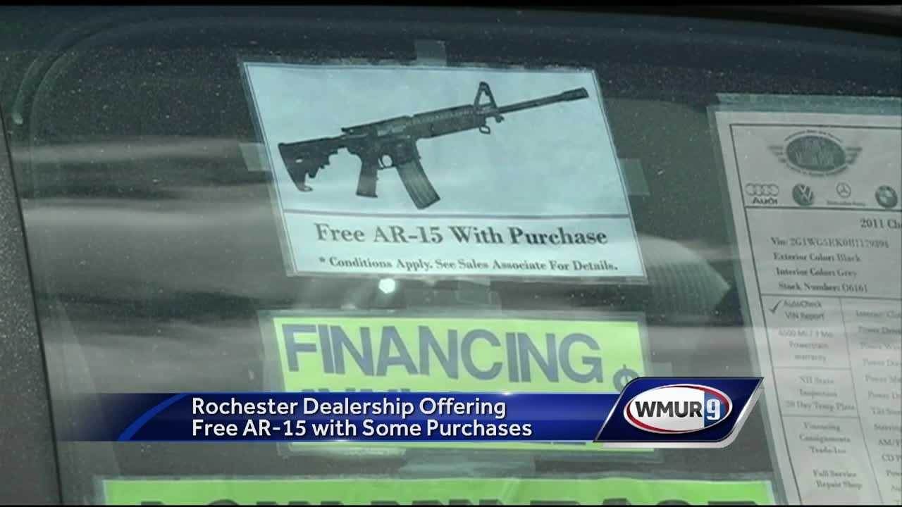 A Rochester car dealership is facing backlash for a promotion that pairs customers with a brand new AR-15.